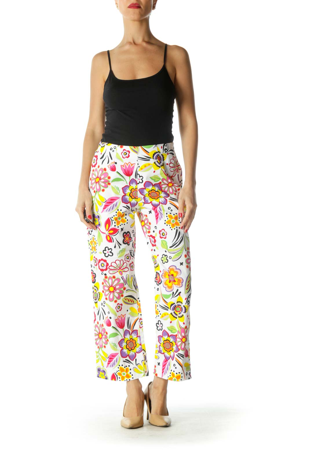 White Multicolor Floral Print Cropped Pants