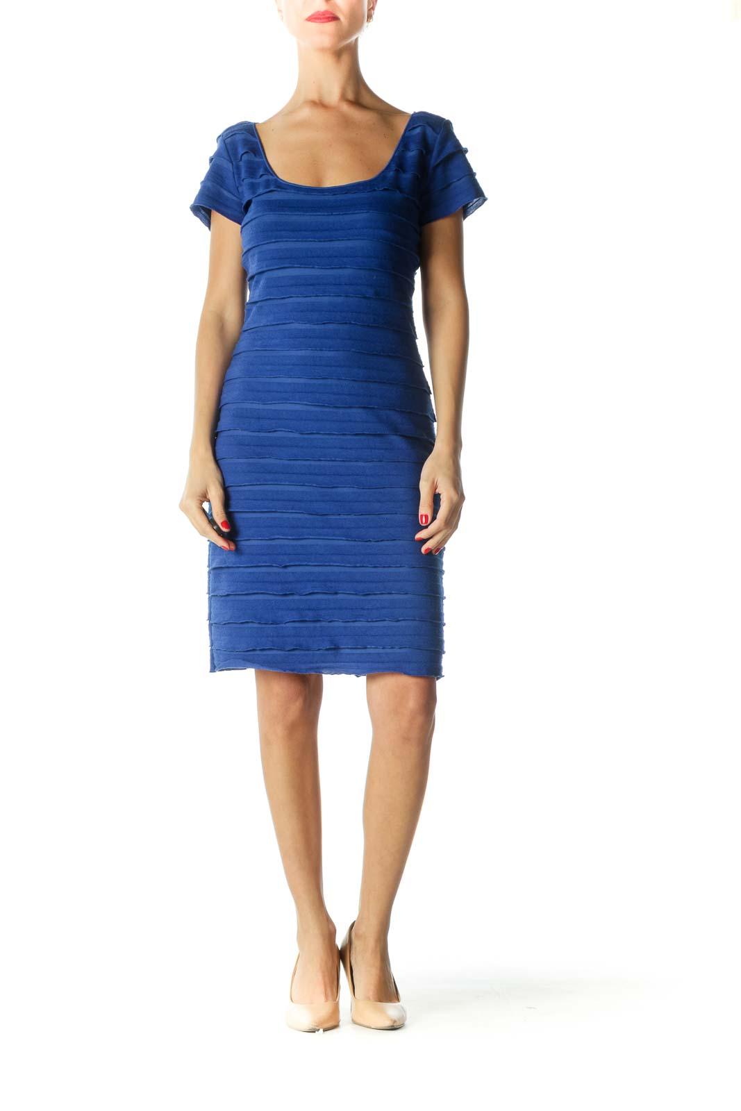 Blue Ruffled Round Neck Work Dress