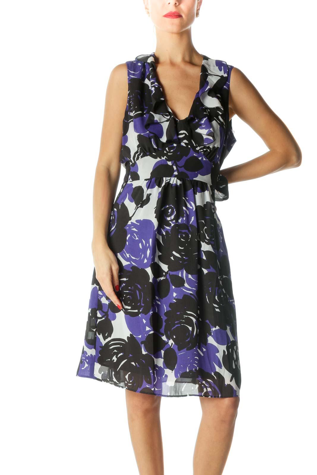 Blue Black White V-Neck Floral Print Flared Dress