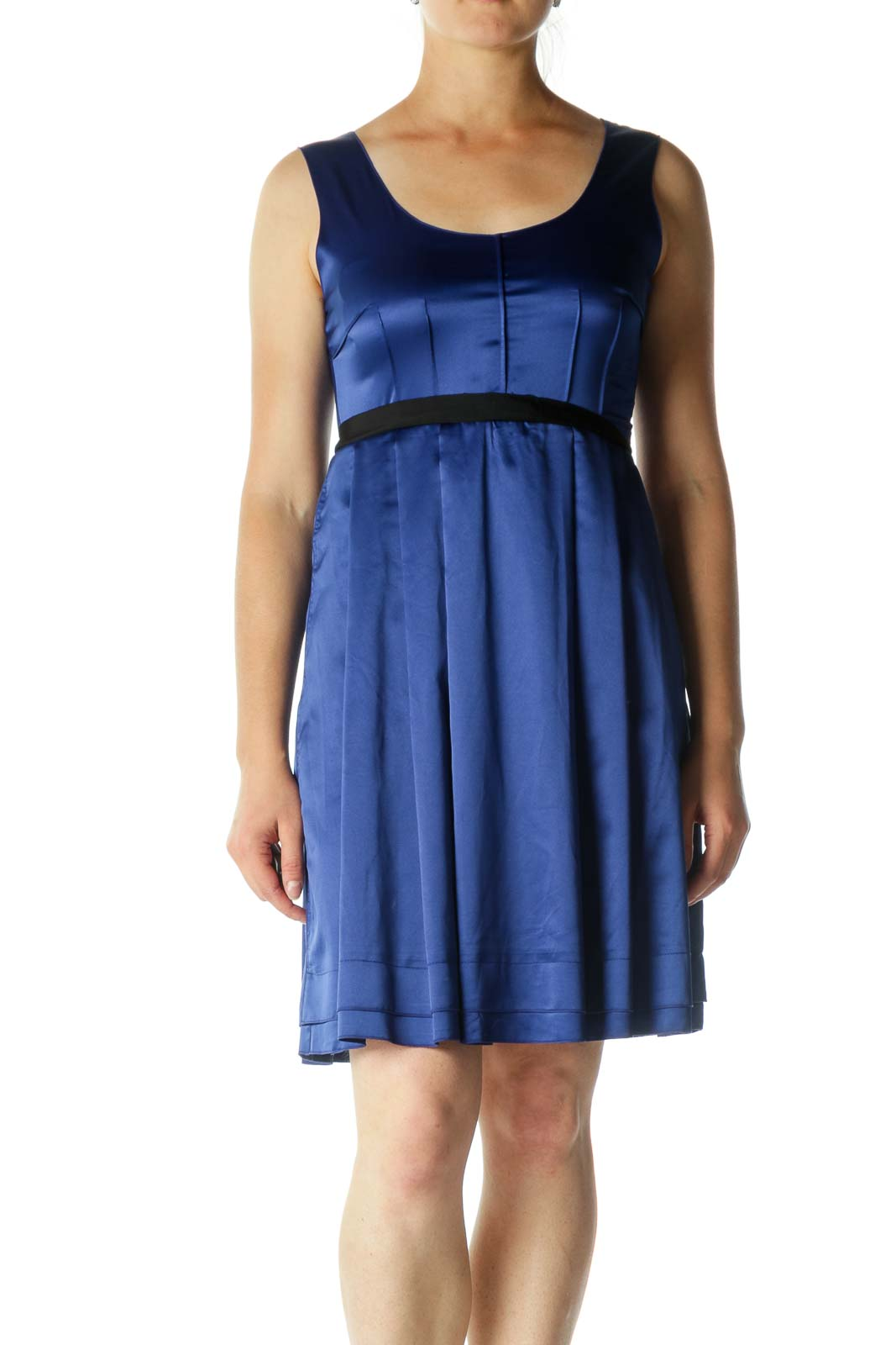 Blue Black Bejeweled Waist Detail Cocktail Dress