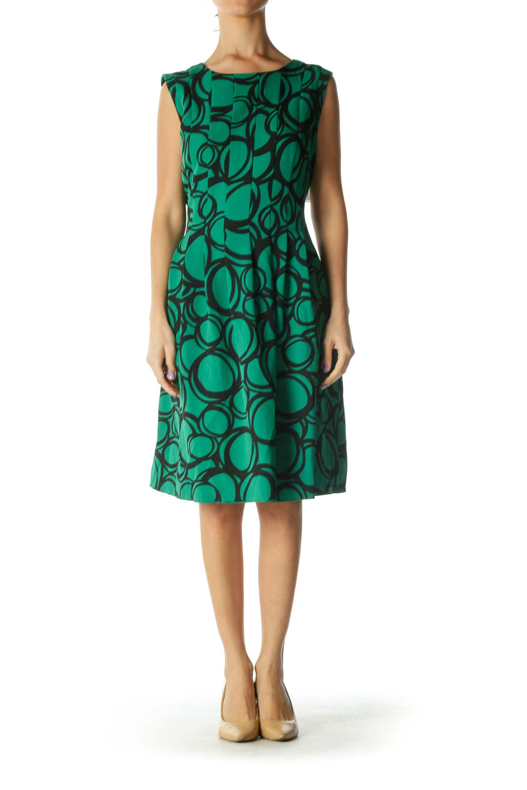Green Black Pleated Sleeveless Dress