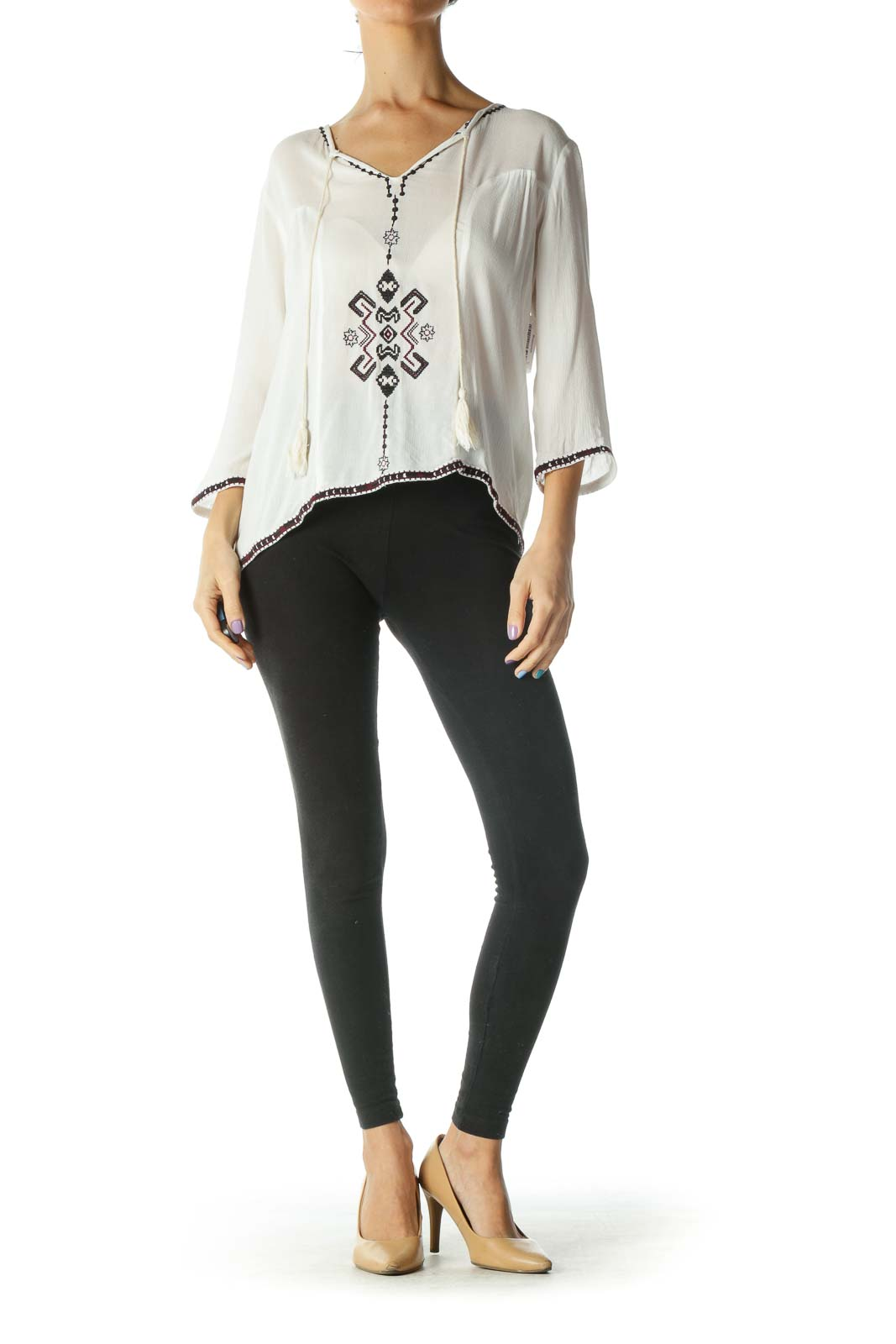 White Embroidered Peasant Top