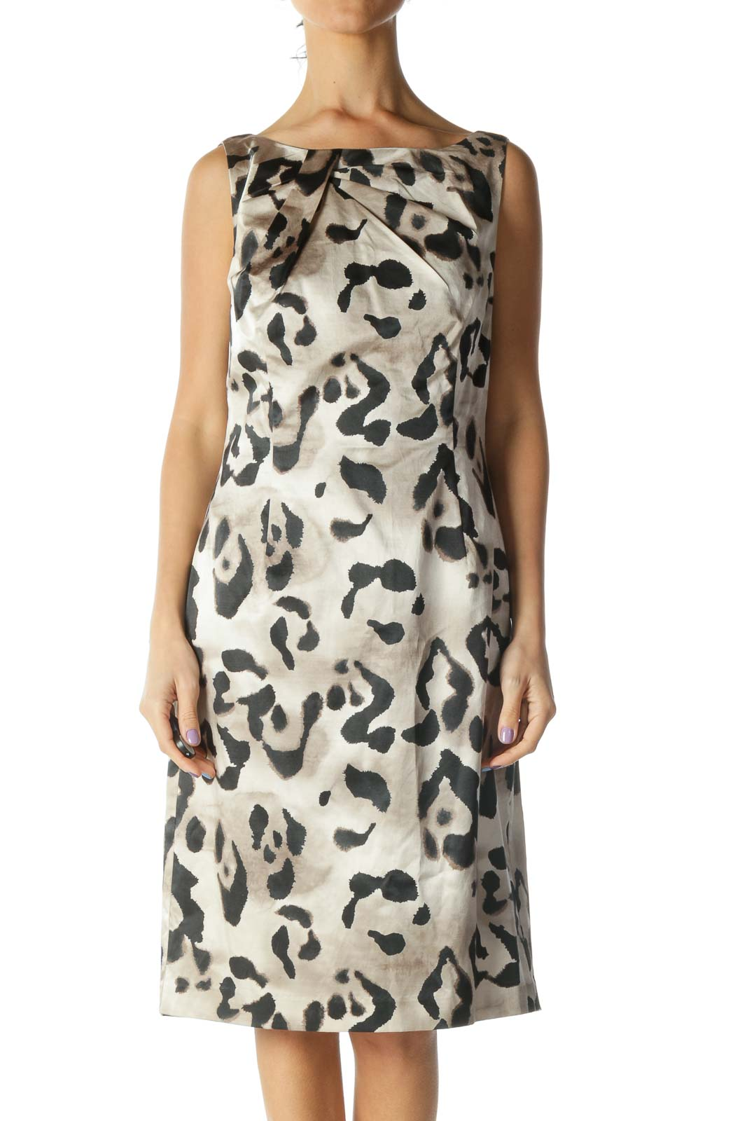 Beige Animal Print Work Dress