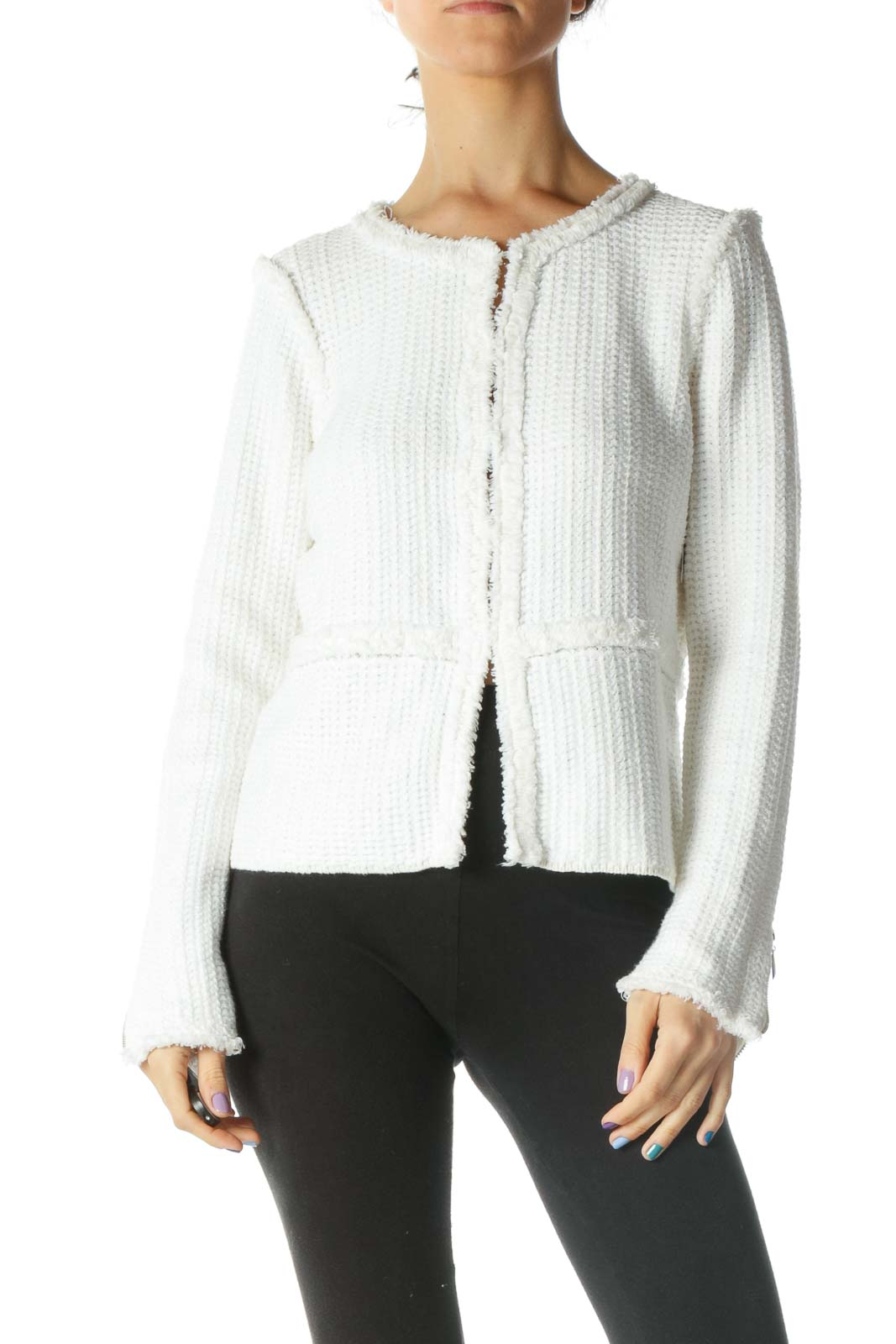 White Knit Tweed Jacket