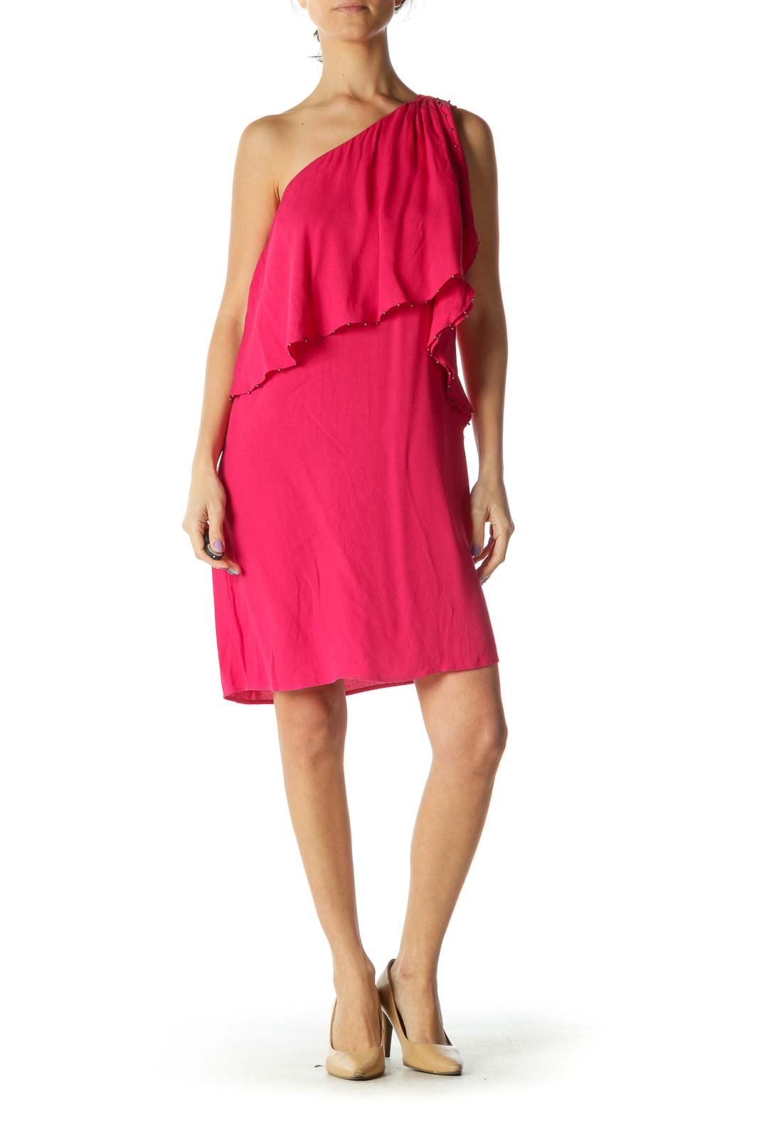 Pink One Shoulder Dress