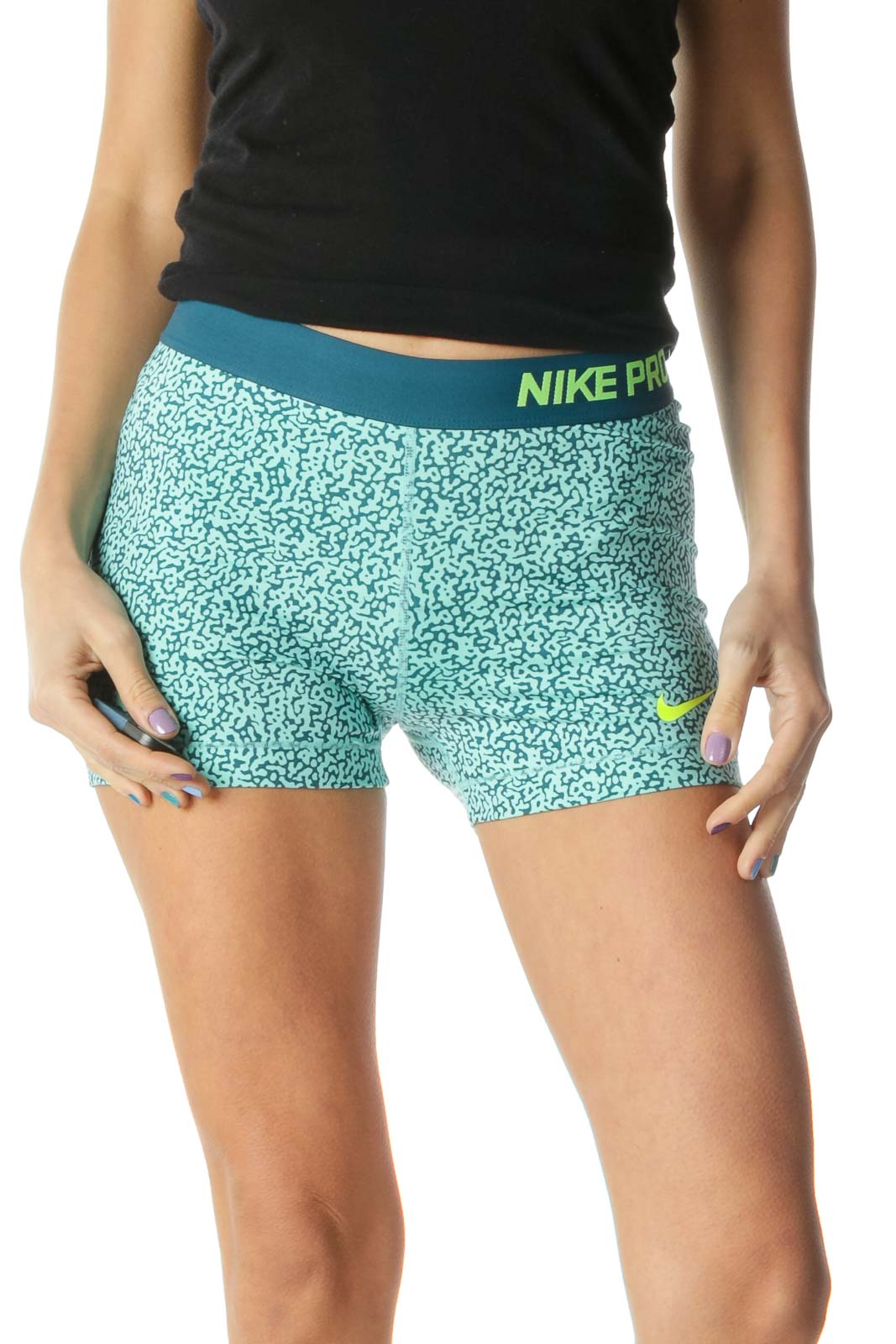 Green Navy Tight Sports Shorts