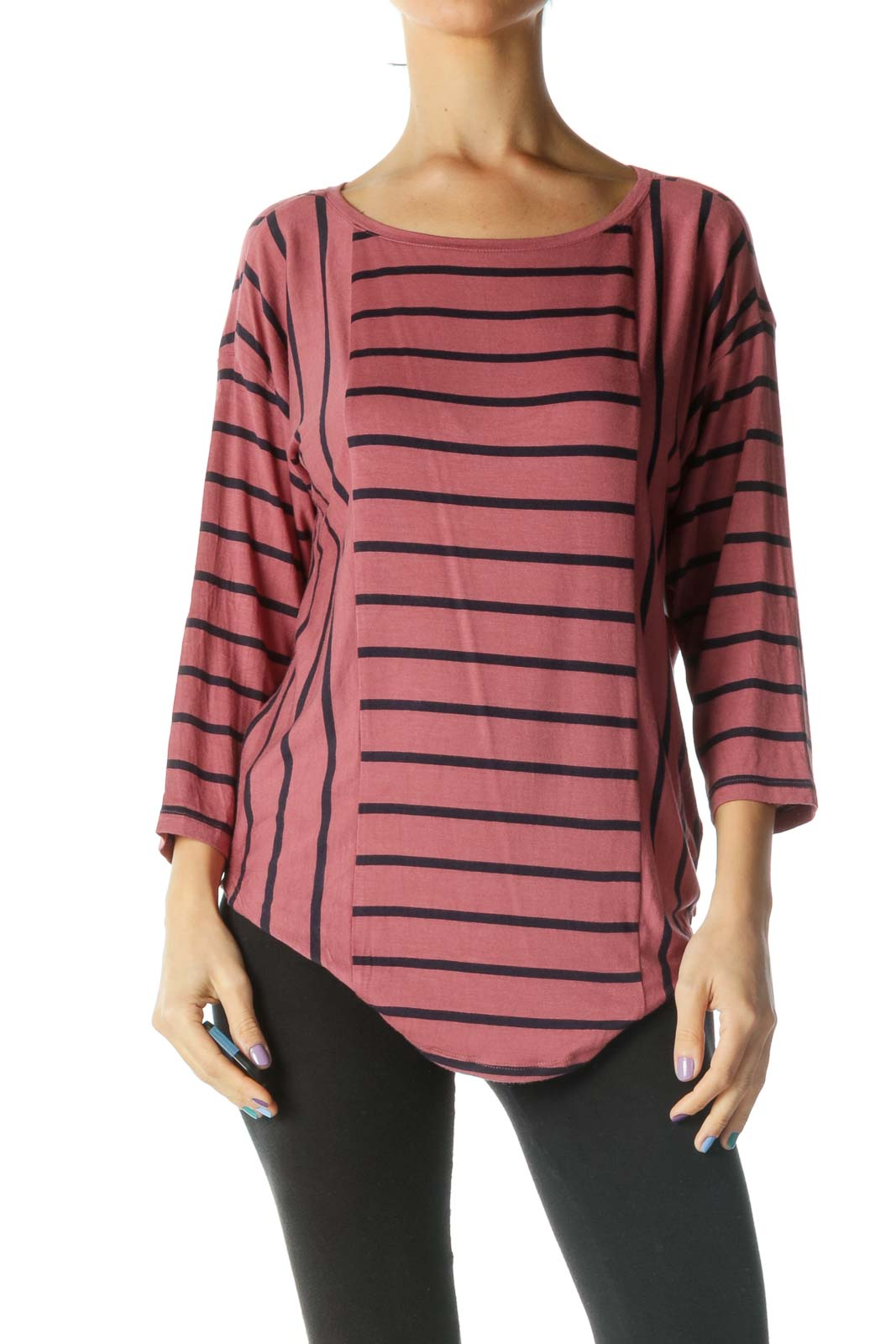 Red and Black Striped Round Neck Knit Top