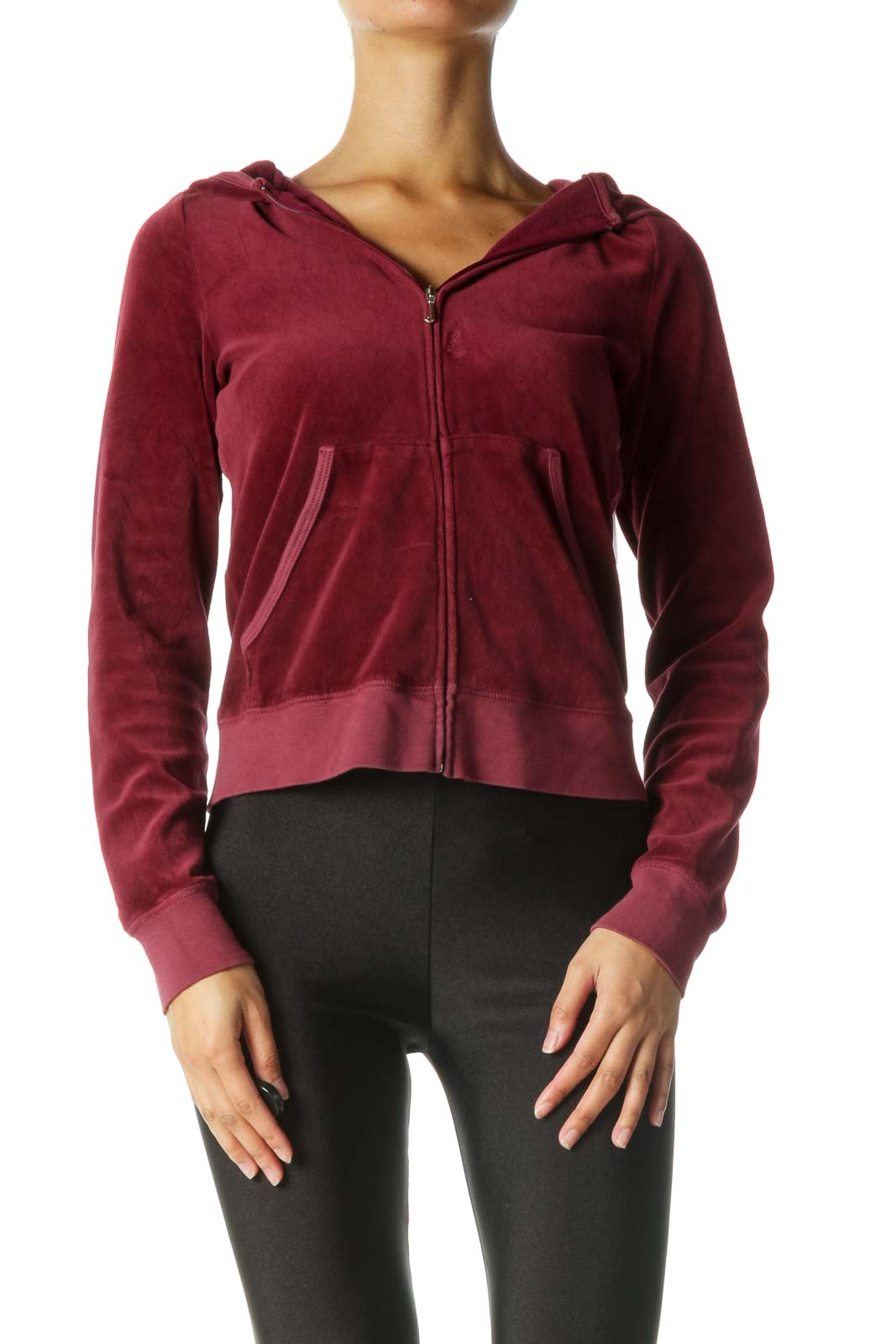 Burgundy Hooded Zippered Fitted Jacket