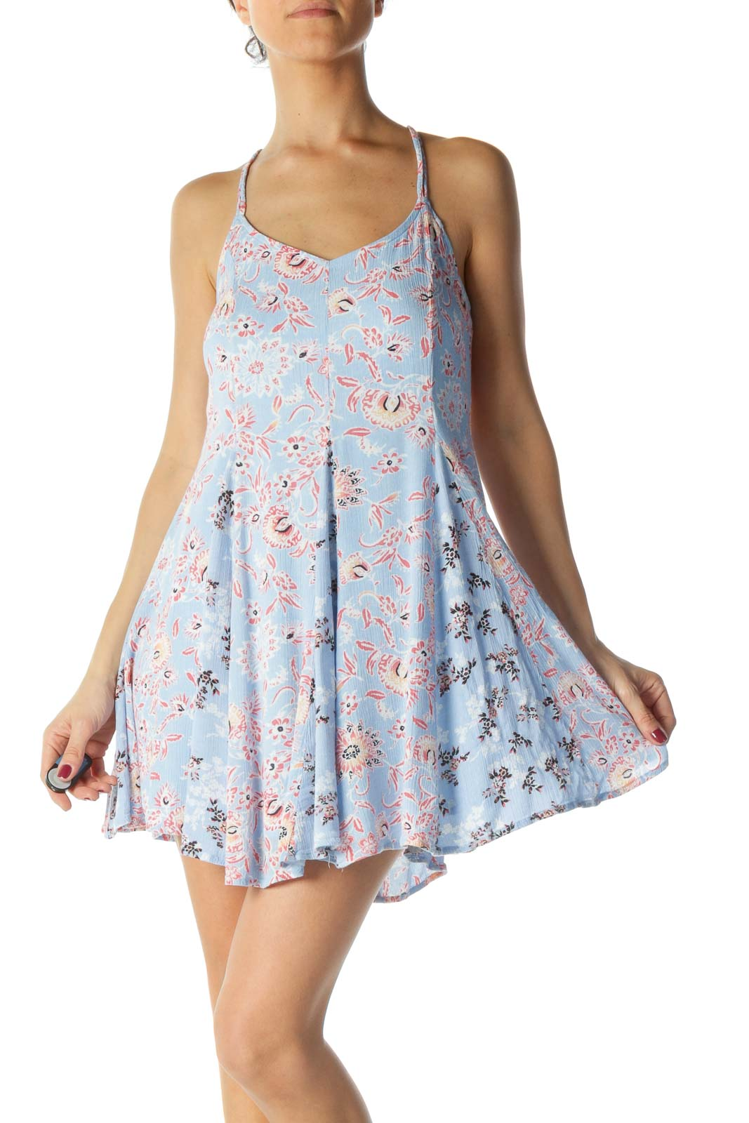 Blue and Pink Floral Print Dress
