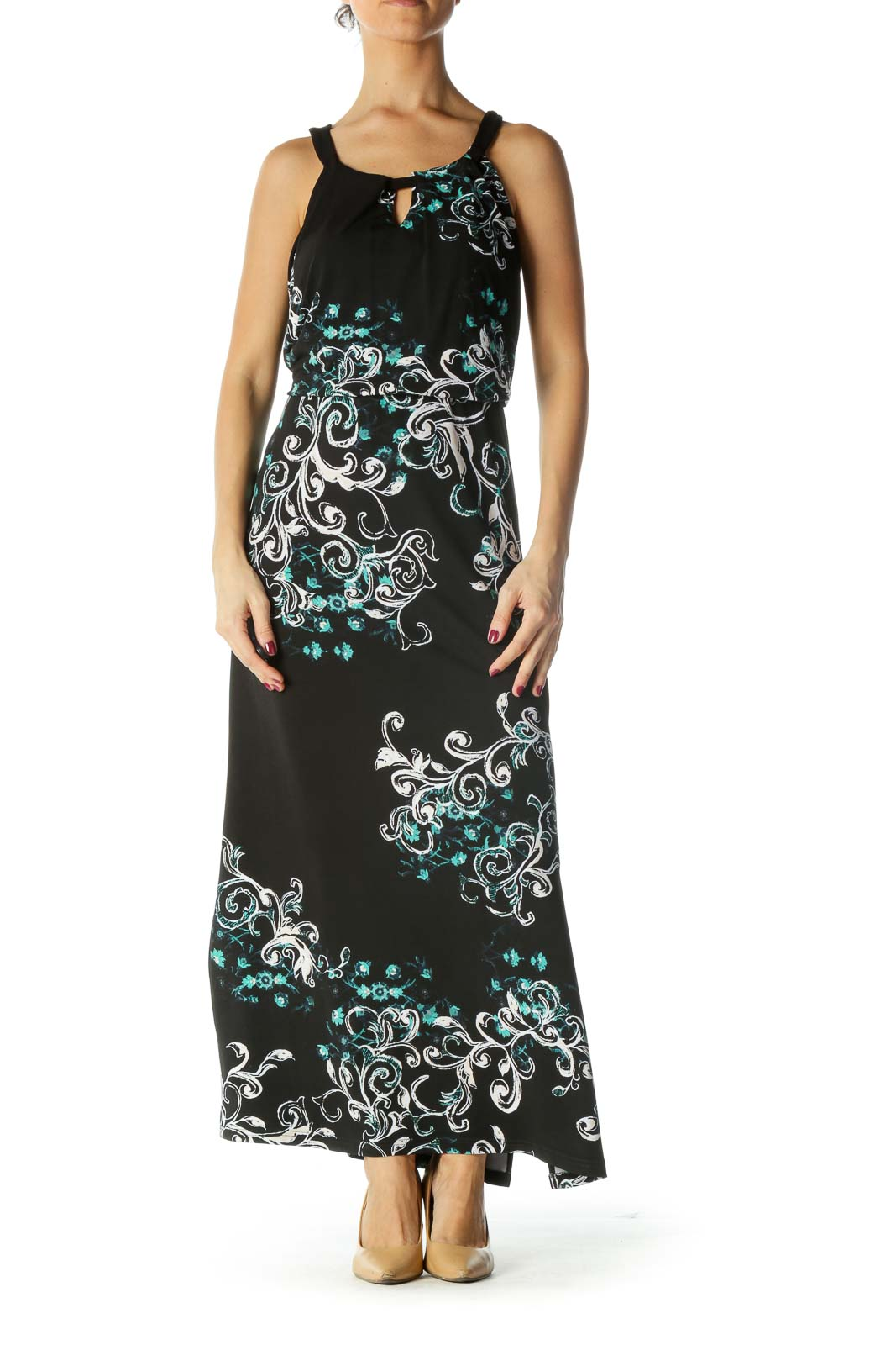 Black and Blue Print Maxi Dress