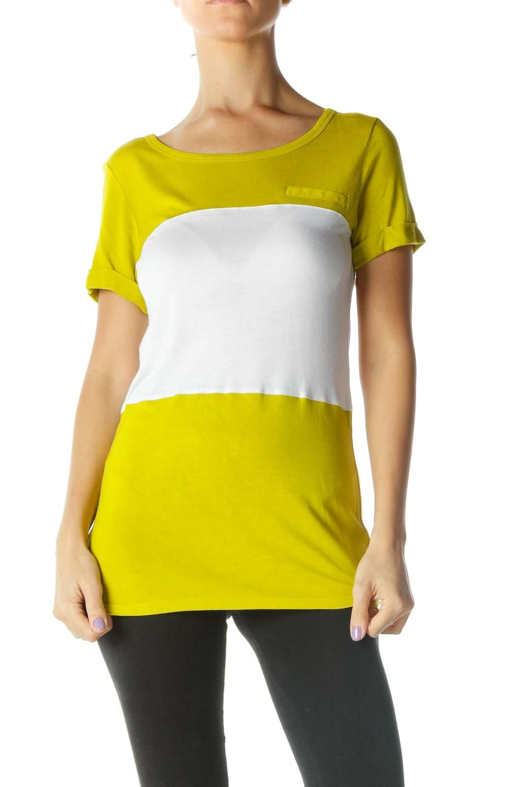 Yellow White Striped T-Shirt