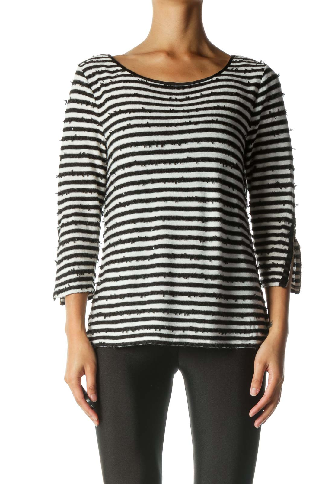 Black and White Striped Sequin Shirt