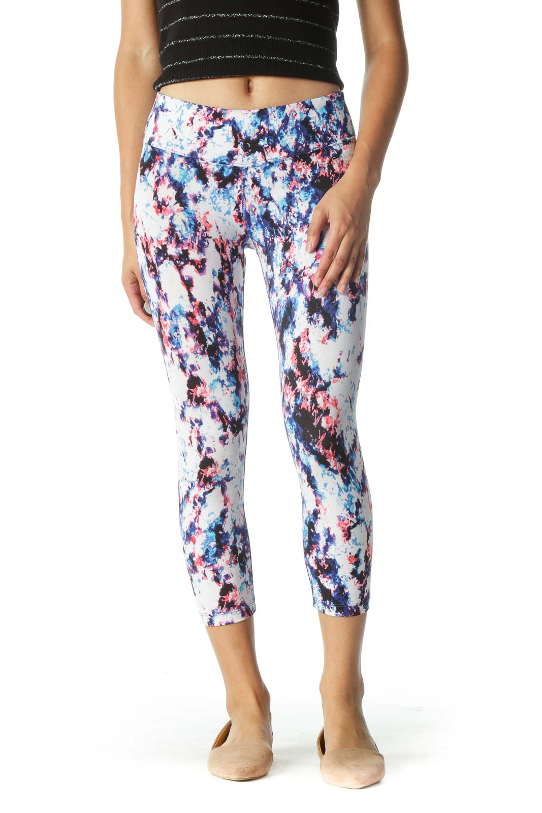 White and Blue Abstract Print Cropped Leggings
