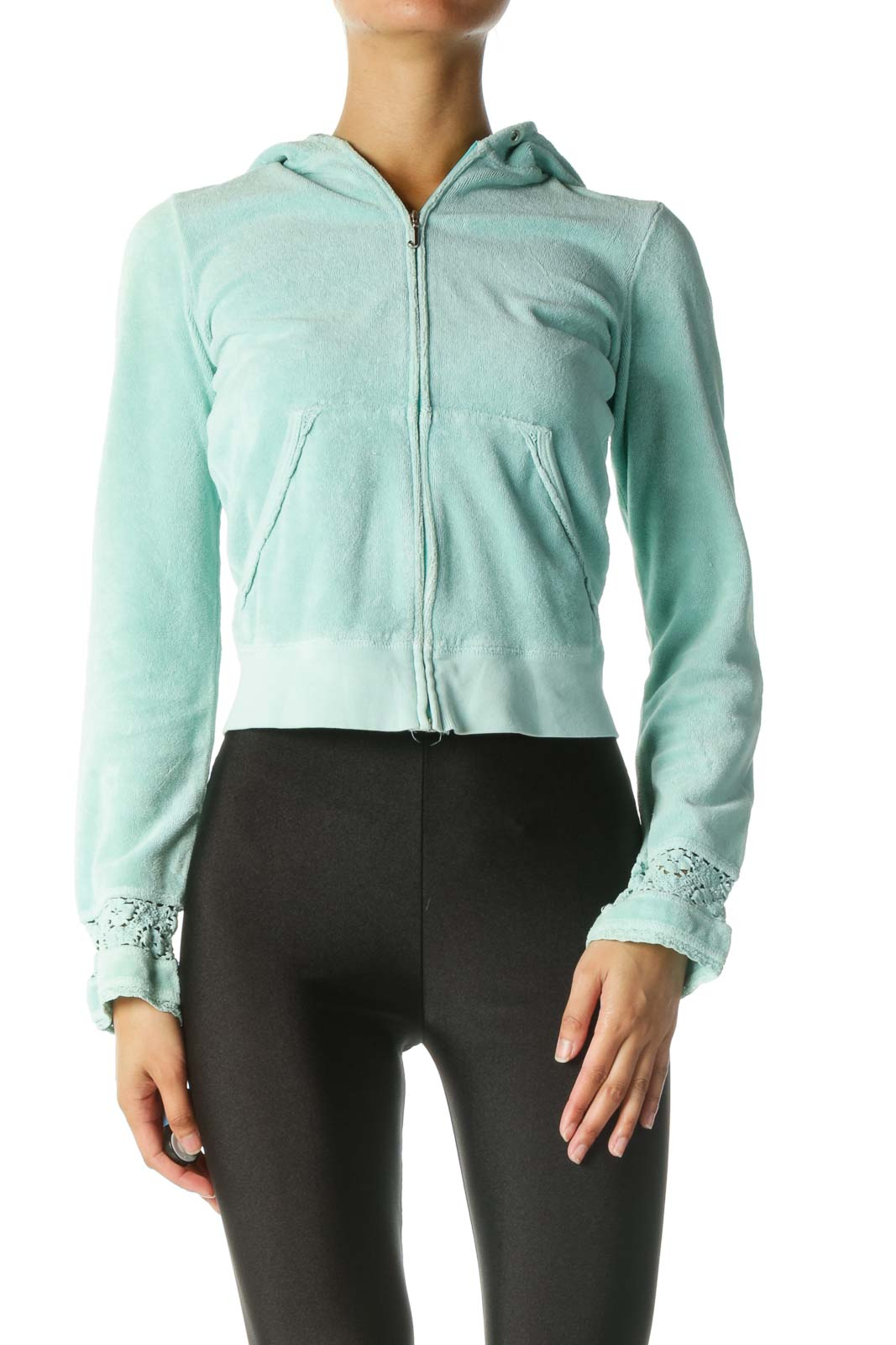 Mint Fitted Jacket with Knit Lace Sleeves