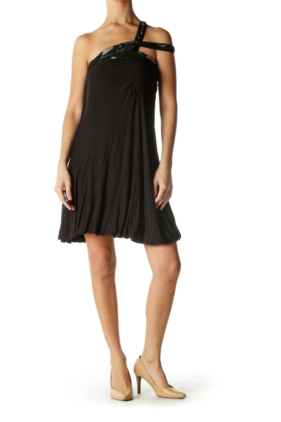 Black Embellished Neckline Dress