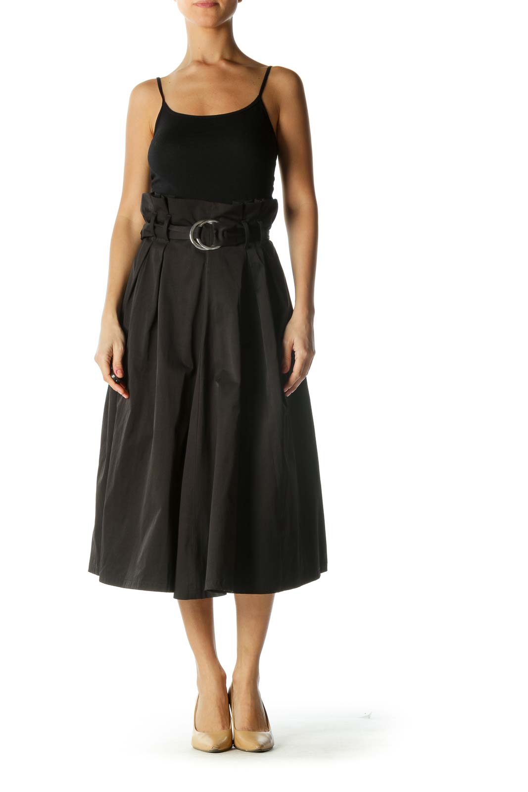 Black A-Line Skirt with Belt