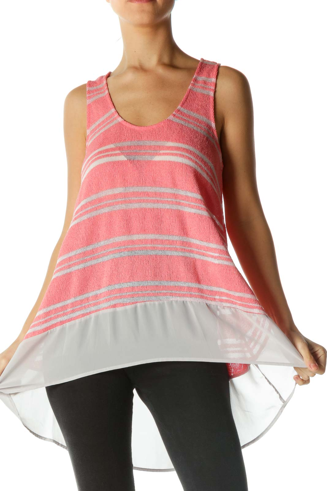 Gray and Pink Knit Striped Tank Top