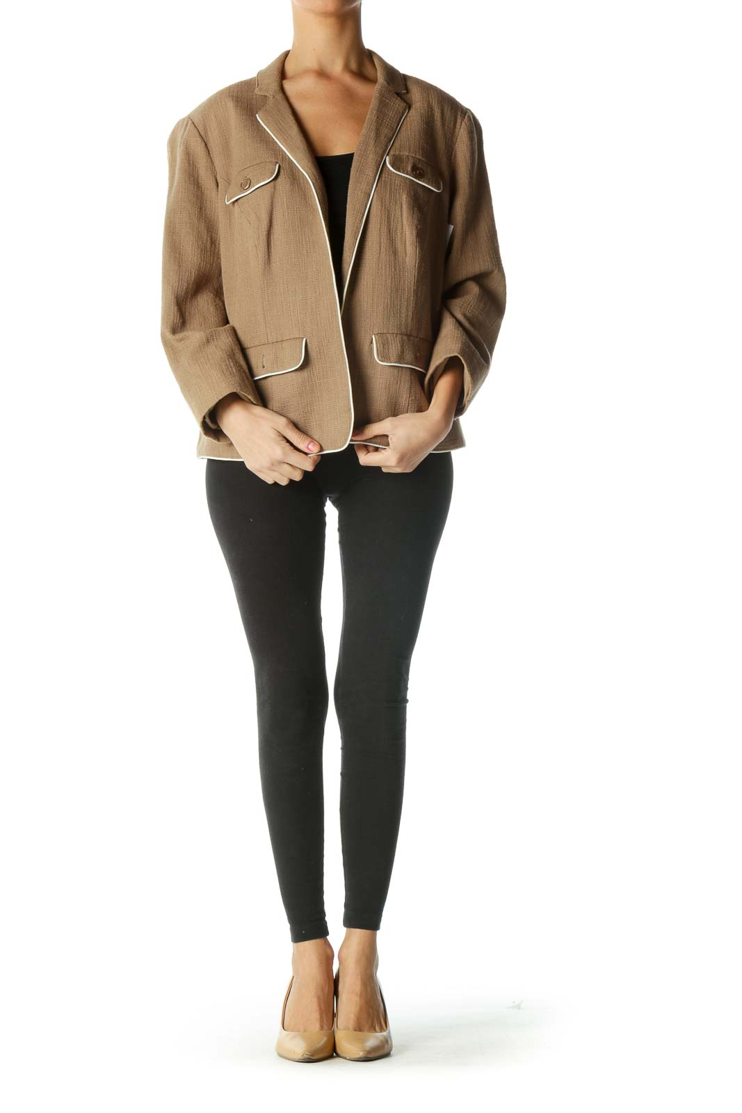 Brown Open Front Blazer