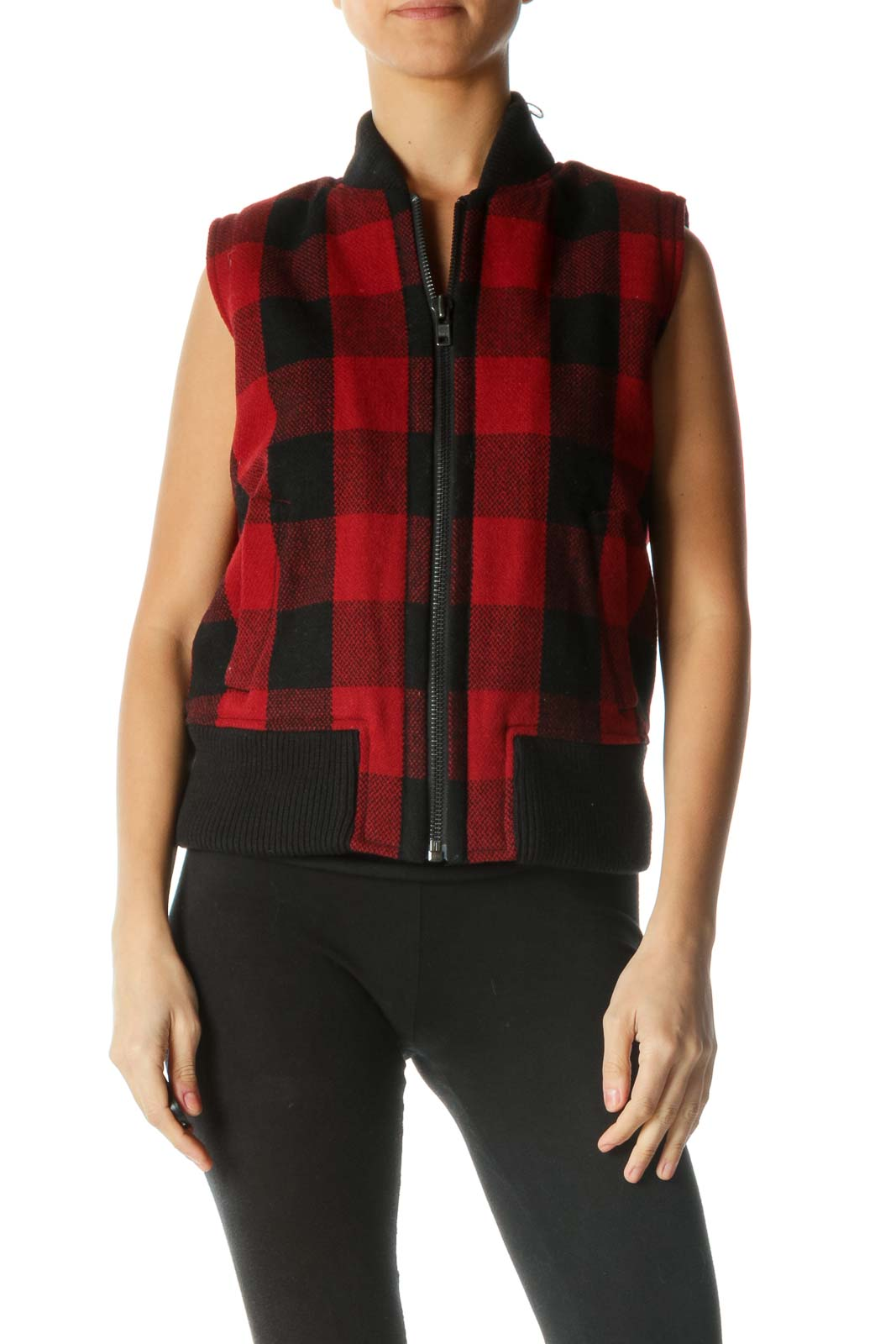 Black and Red Plaid Vest