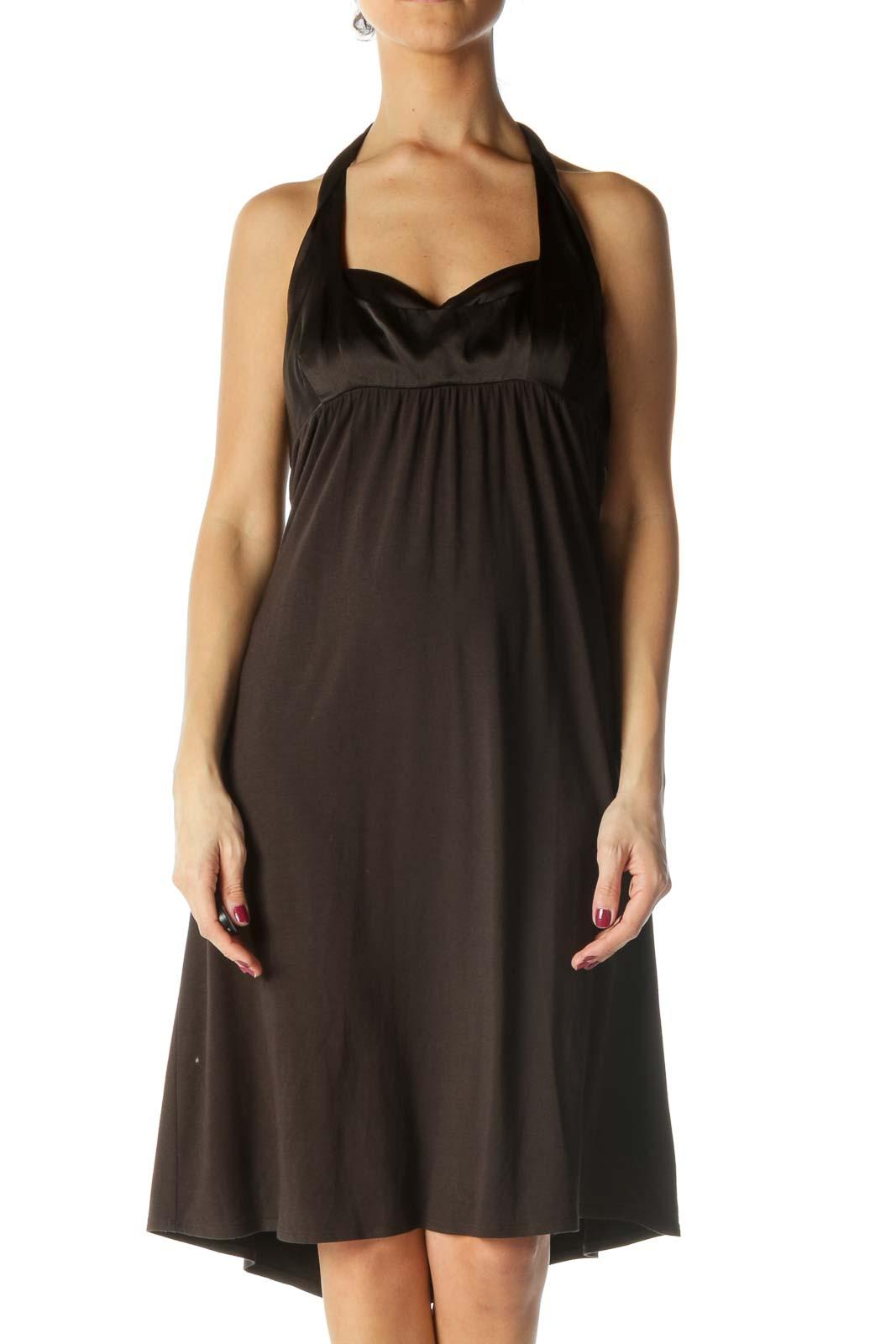 Brown Halter Knee Length Cocktail Dress