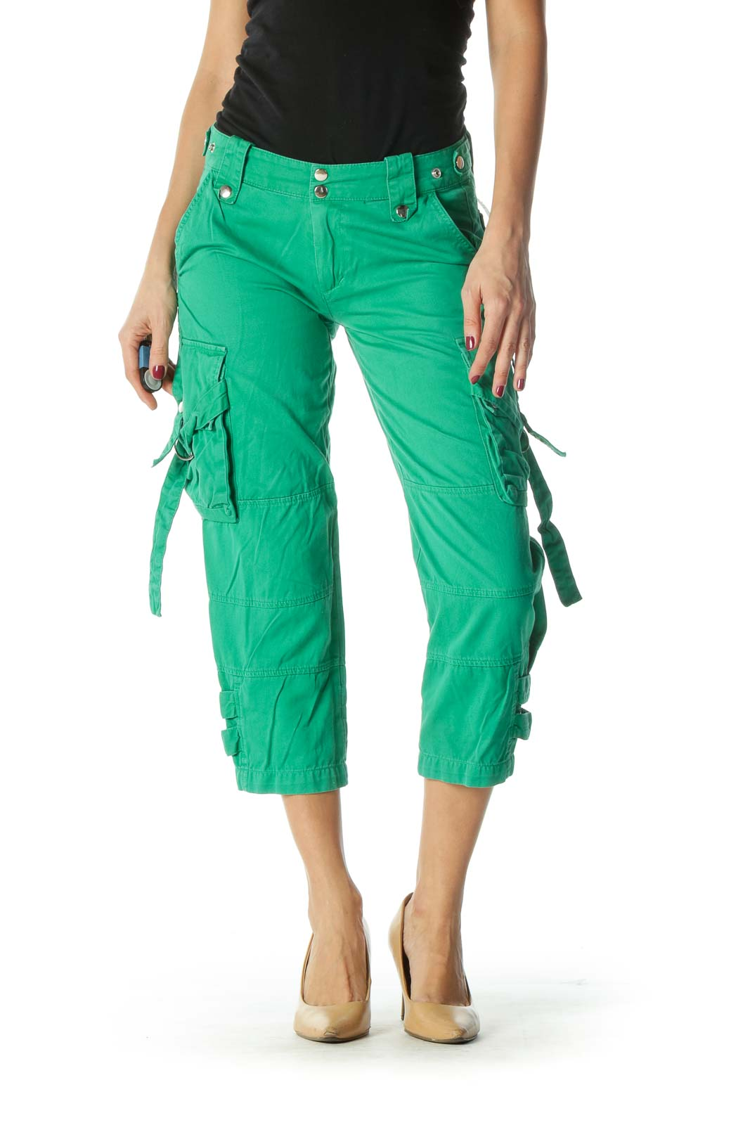 Green Snap Buttons Pocketed Cropped Pants