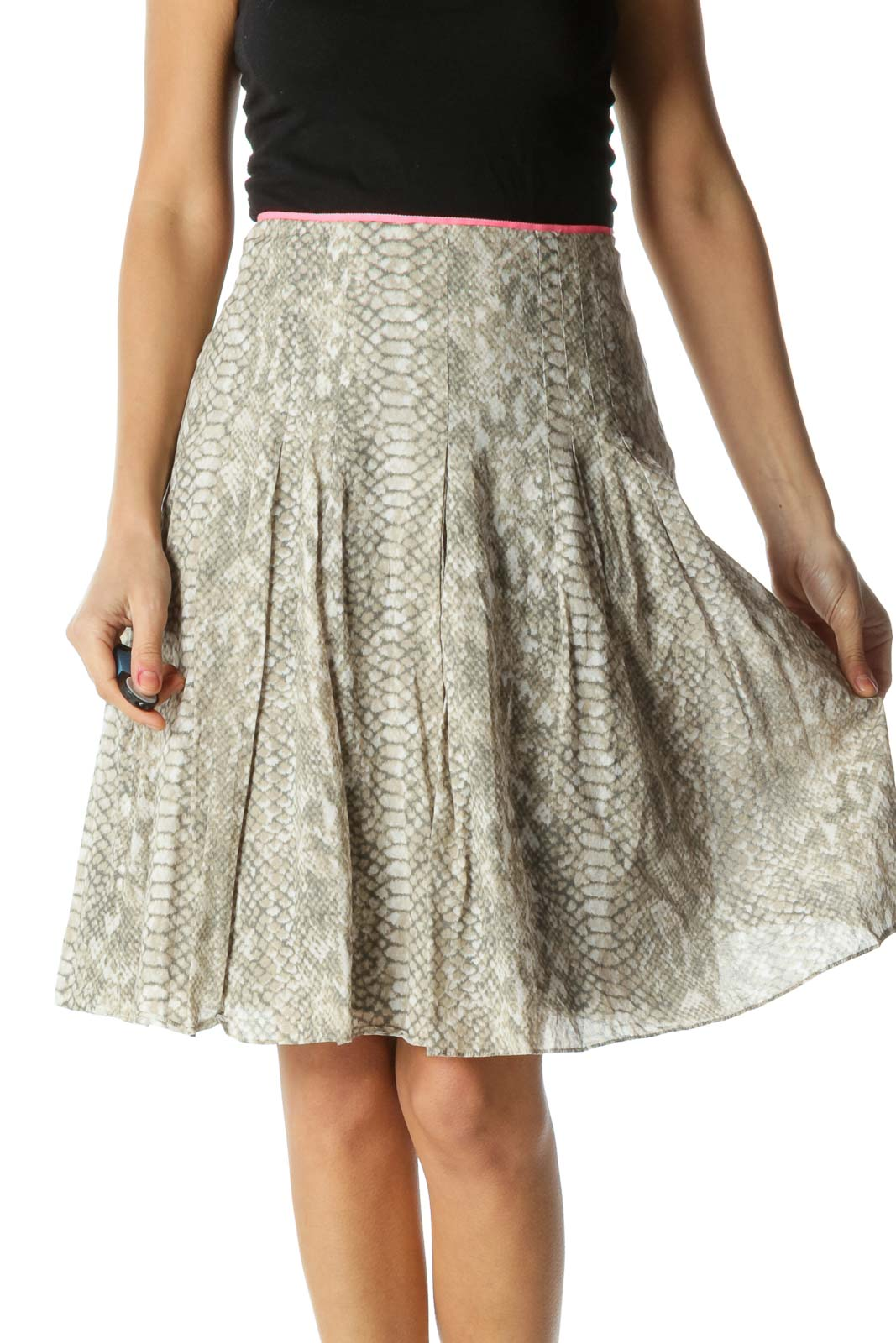 Gray and Pink Snake Skin Flared Skirt