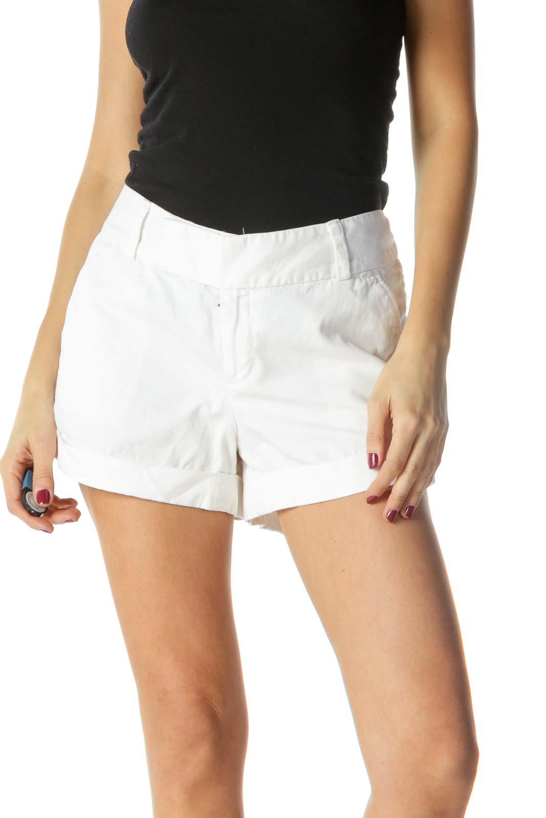 White Pocketed Hemmed Shorts