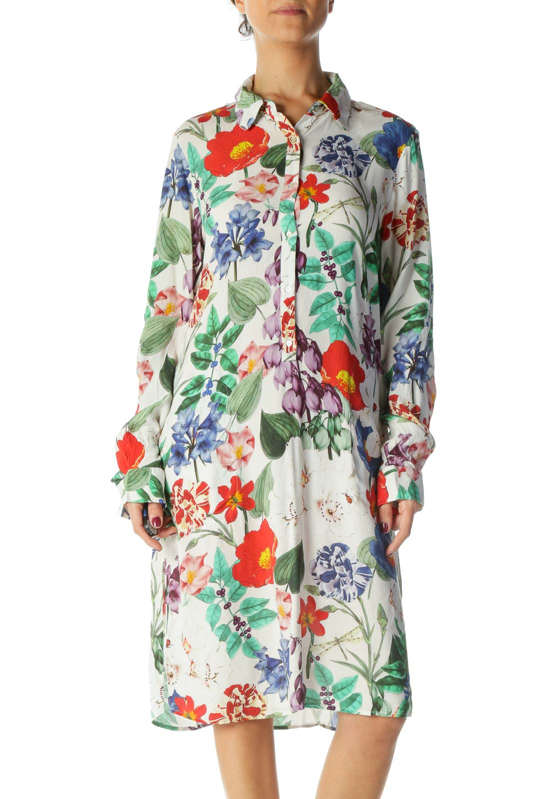 Multicolored Floral Print Pocketed Long Sleeve Shirt Dress