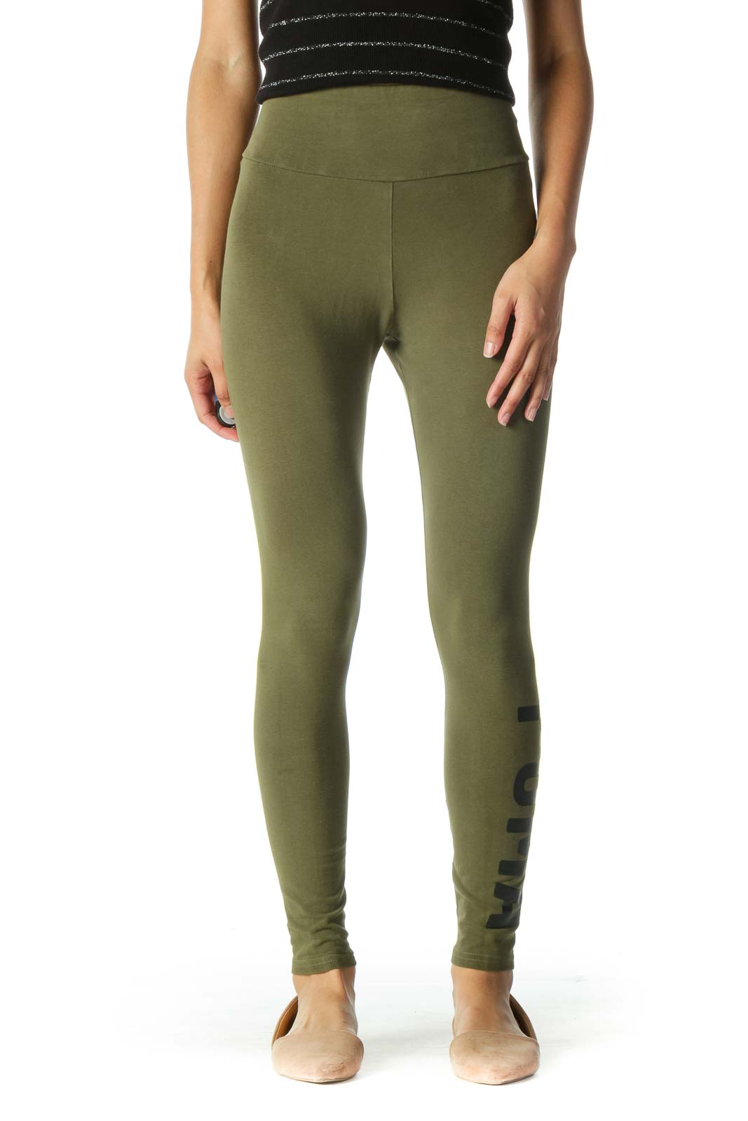 Green Logo High Waisted Leggings