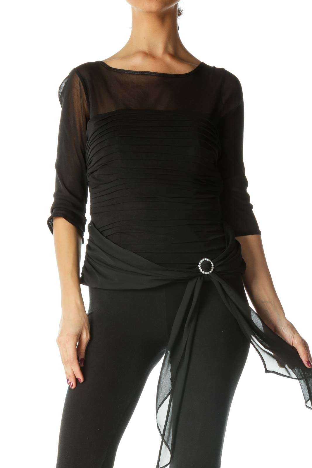 Black Pleated Boat Neck Knit Top
