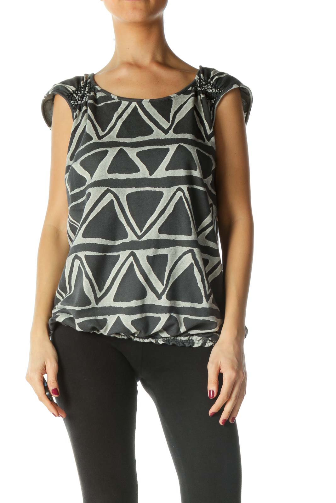 Grey Geometric Sleeveless Knit Top