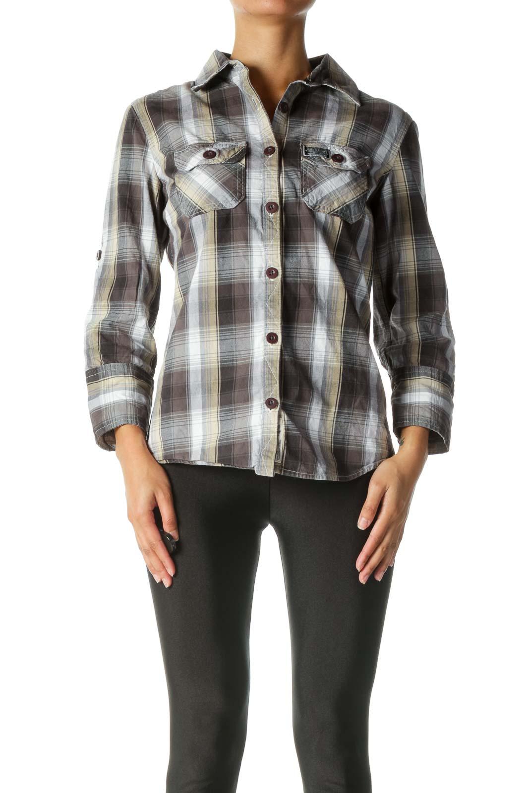 Grey, Beige, And White Plaid Button-Down Shirt