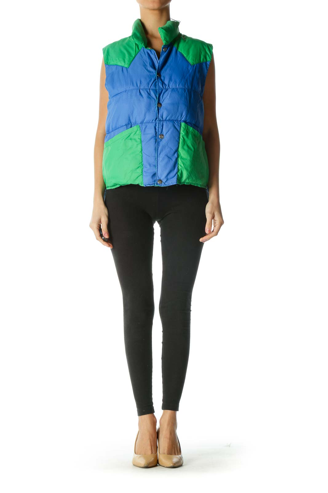 Blue and Green Colorblock Vest