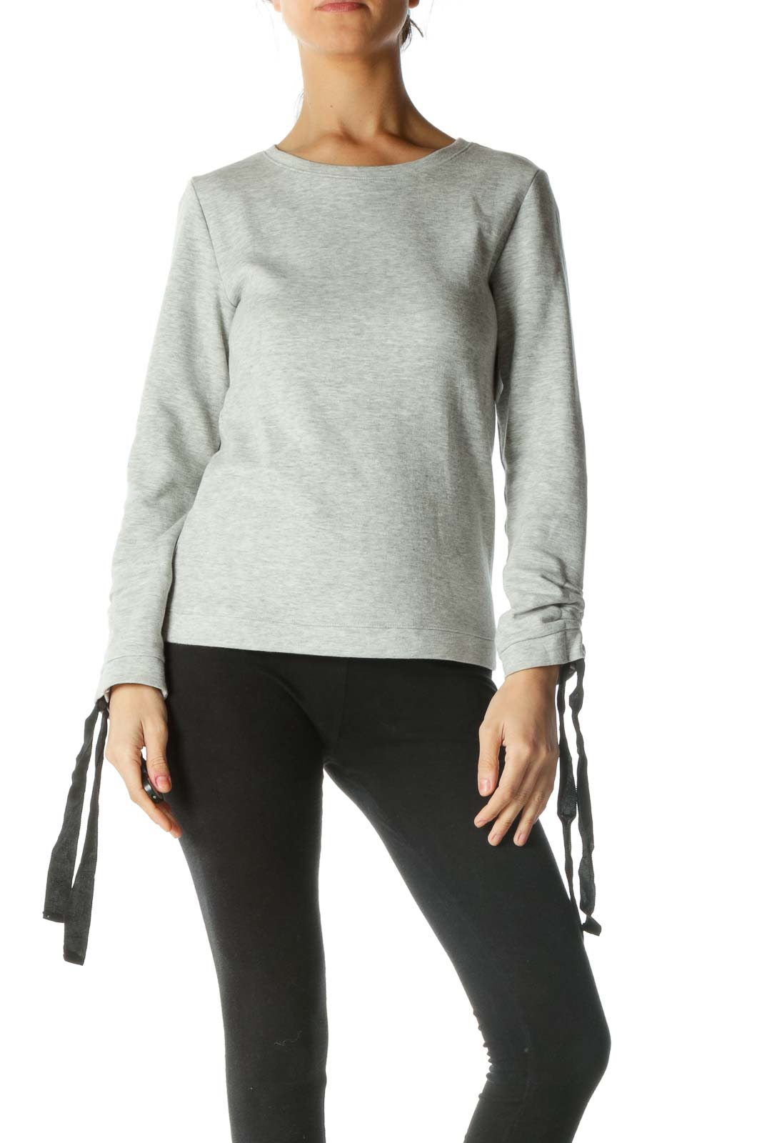 Gray Long Sleeve Sweater with Bow Sleeves