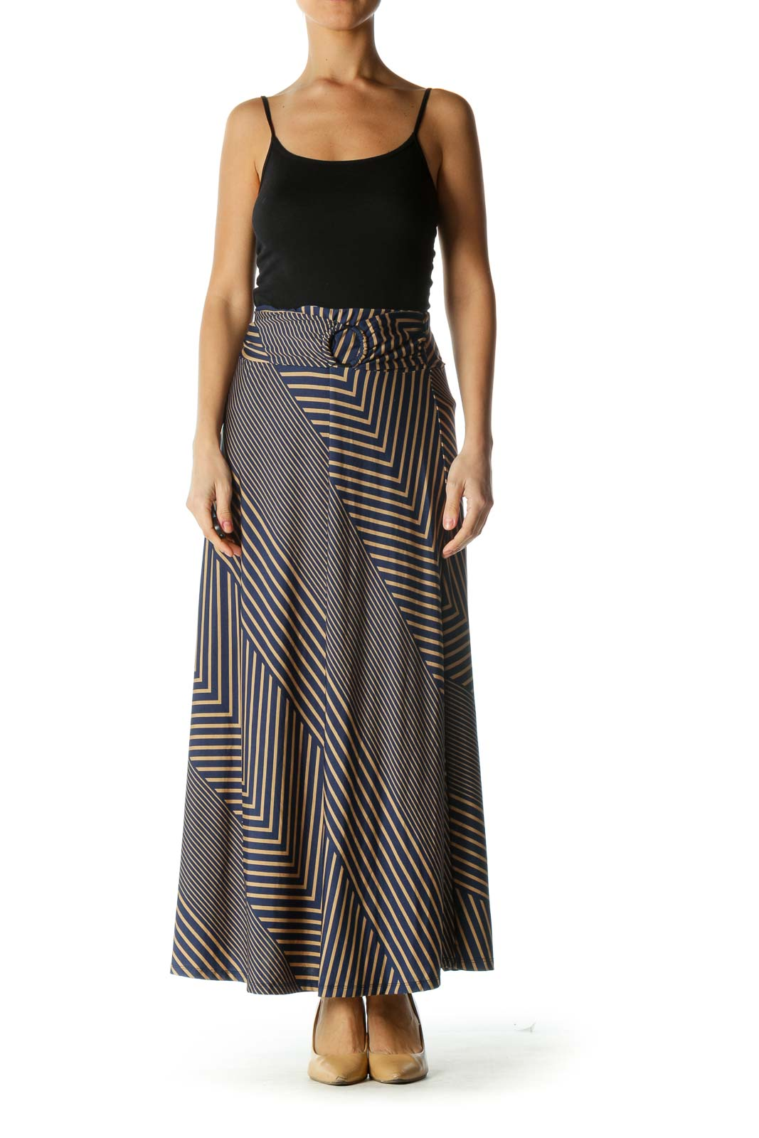 Blue and Brown Striped Flowy Maxi Skirt