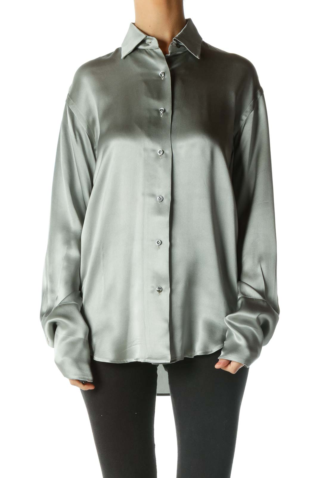 Silver Silk Button Down Shirt