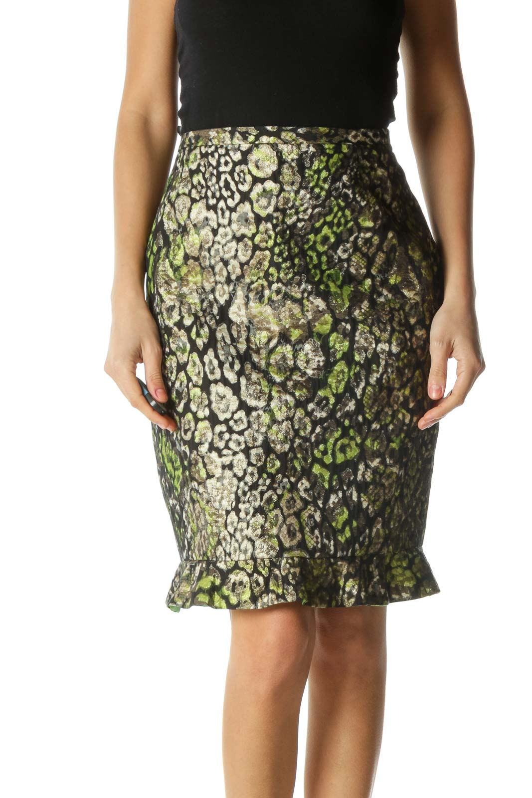 Black and Green Print Pencil Skirt