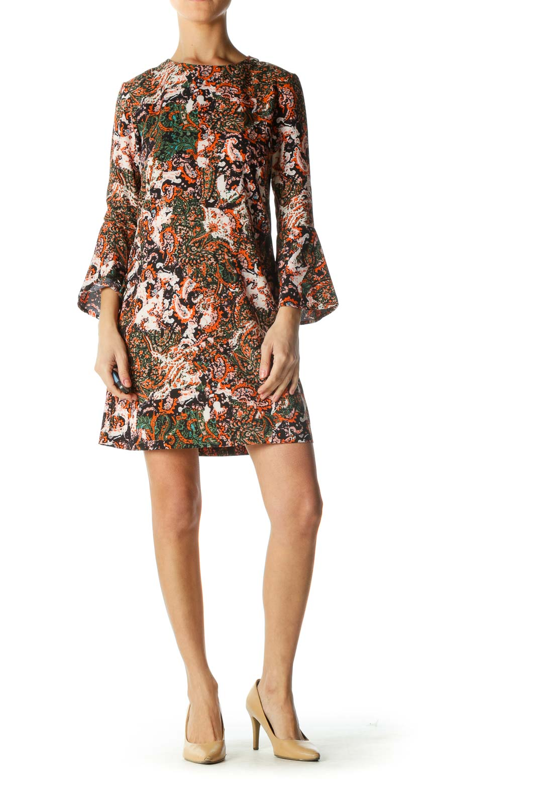 Orange Multicolor Bell Sleeve Shift Dress