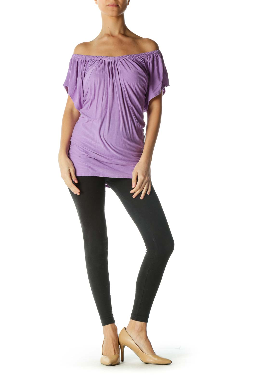 Purple Cold-shoulder Short Sleeve Shirt