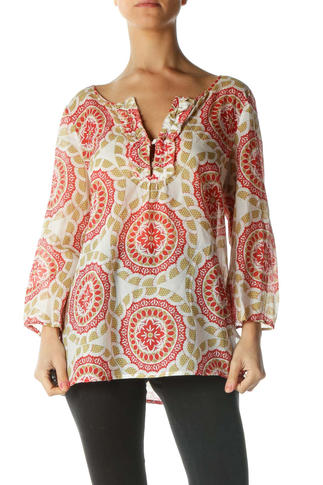 Red and White Geometric Print Blouse