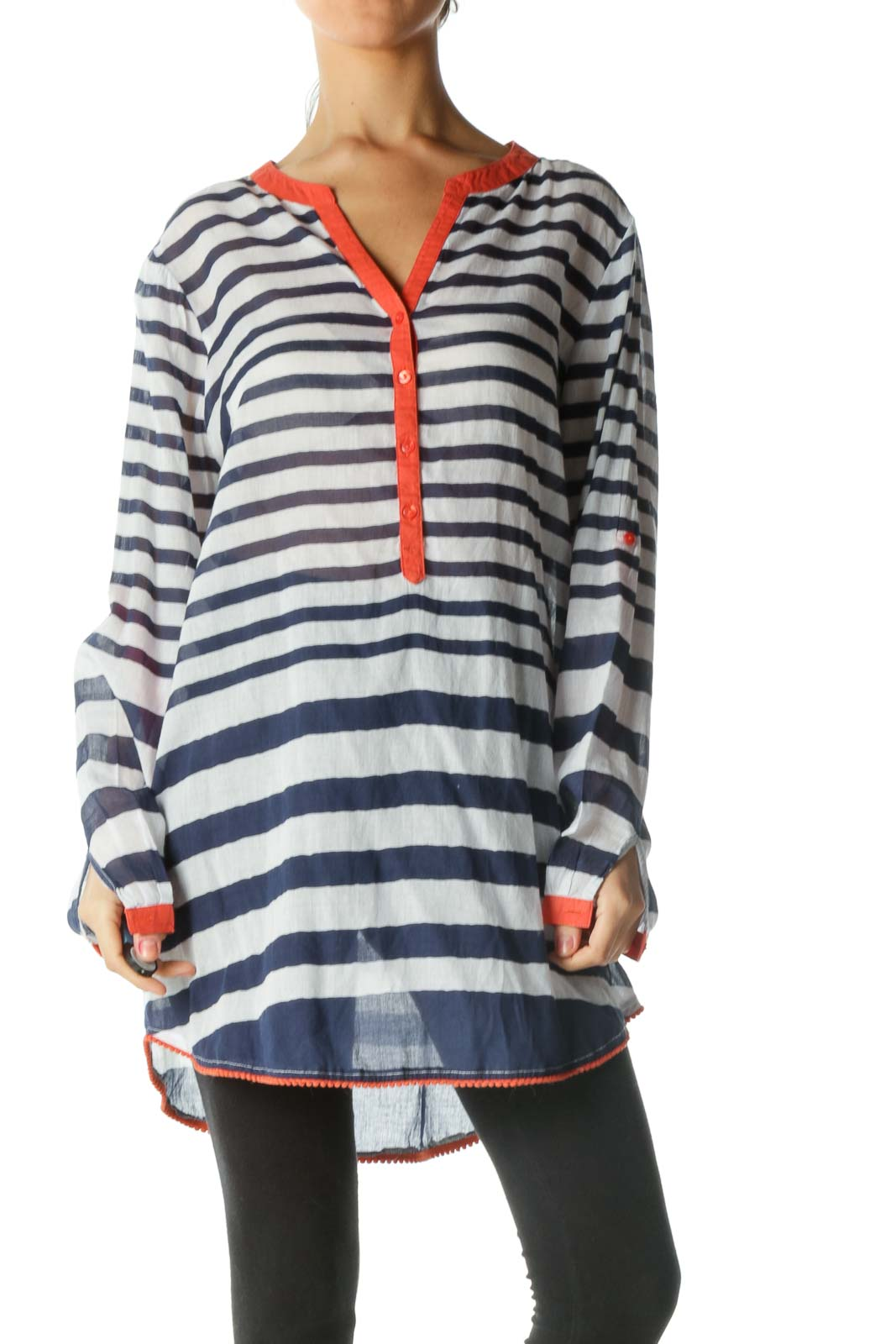 Blue and White Striped Sheer Long Sleeve Shirt