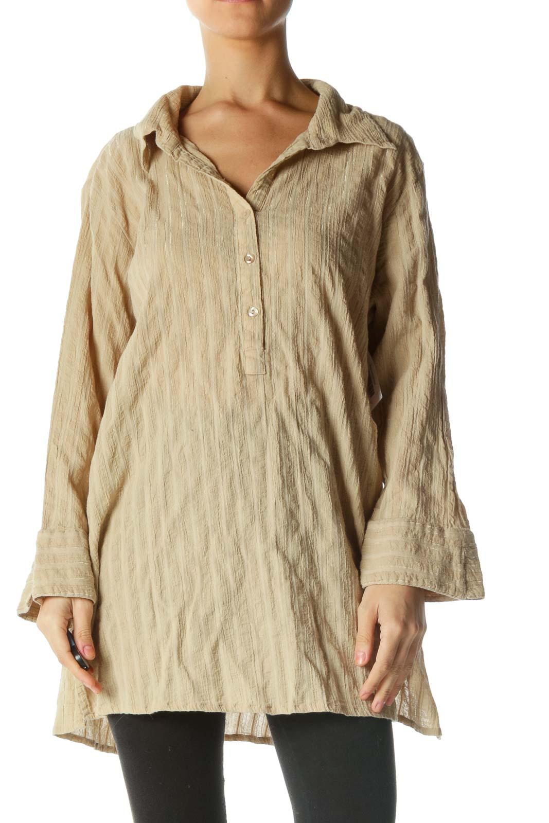 Brown Half Button Down Shirt