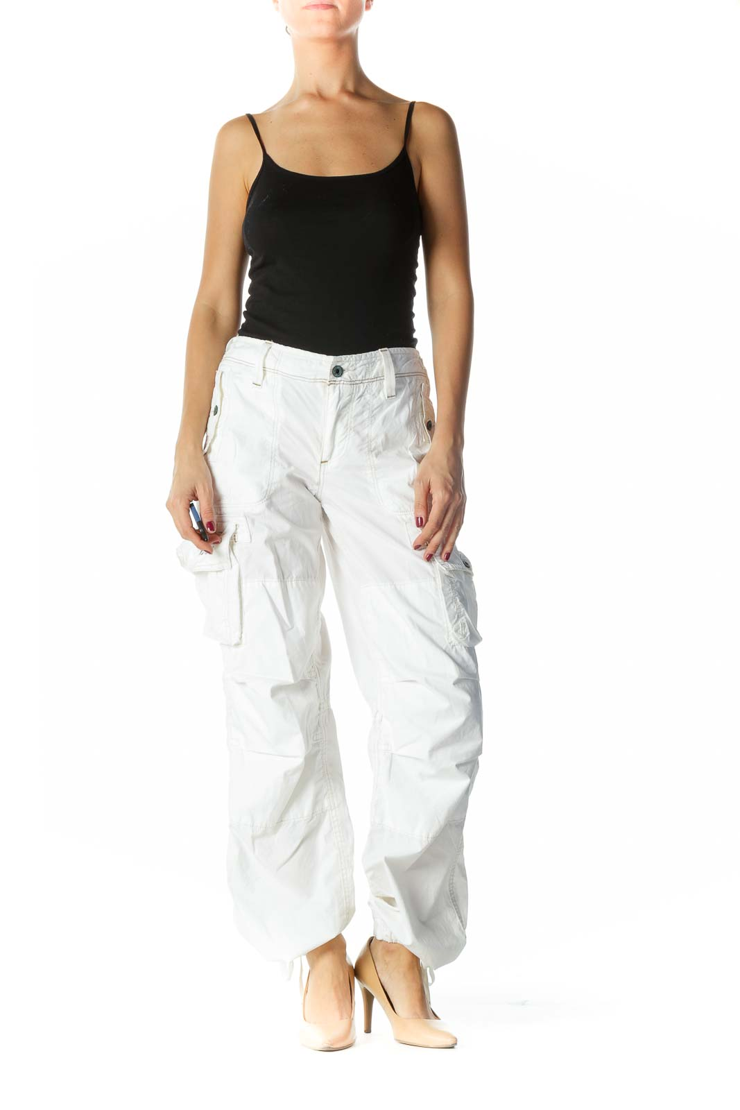 White Beige Stitching Pocketed Pants