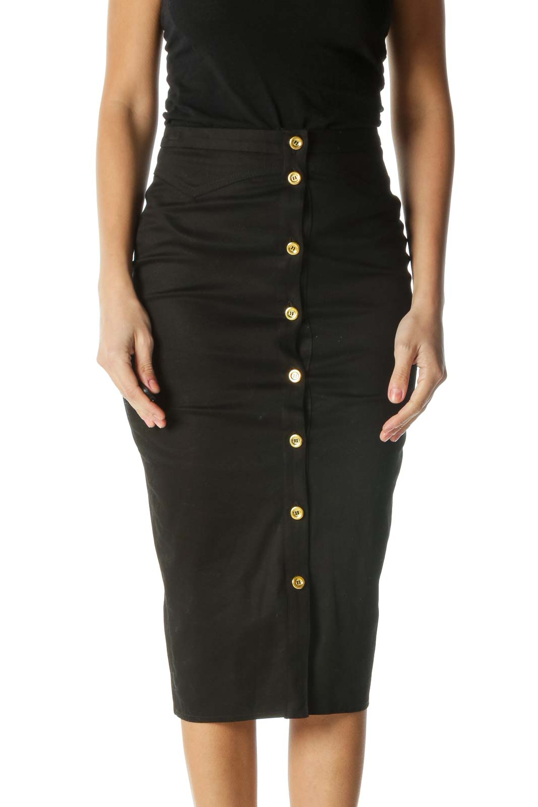 Black Pencil Skirt with Gold Buttons