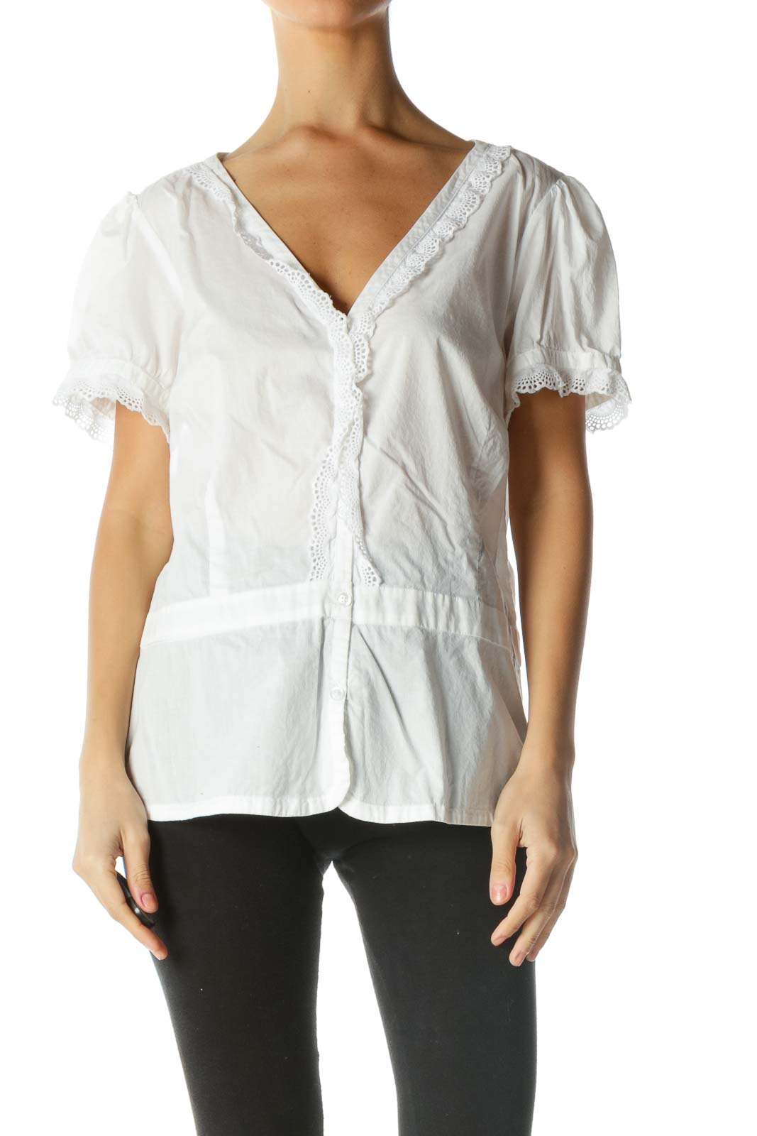 White Short Sleeve Lace Trim Shirt