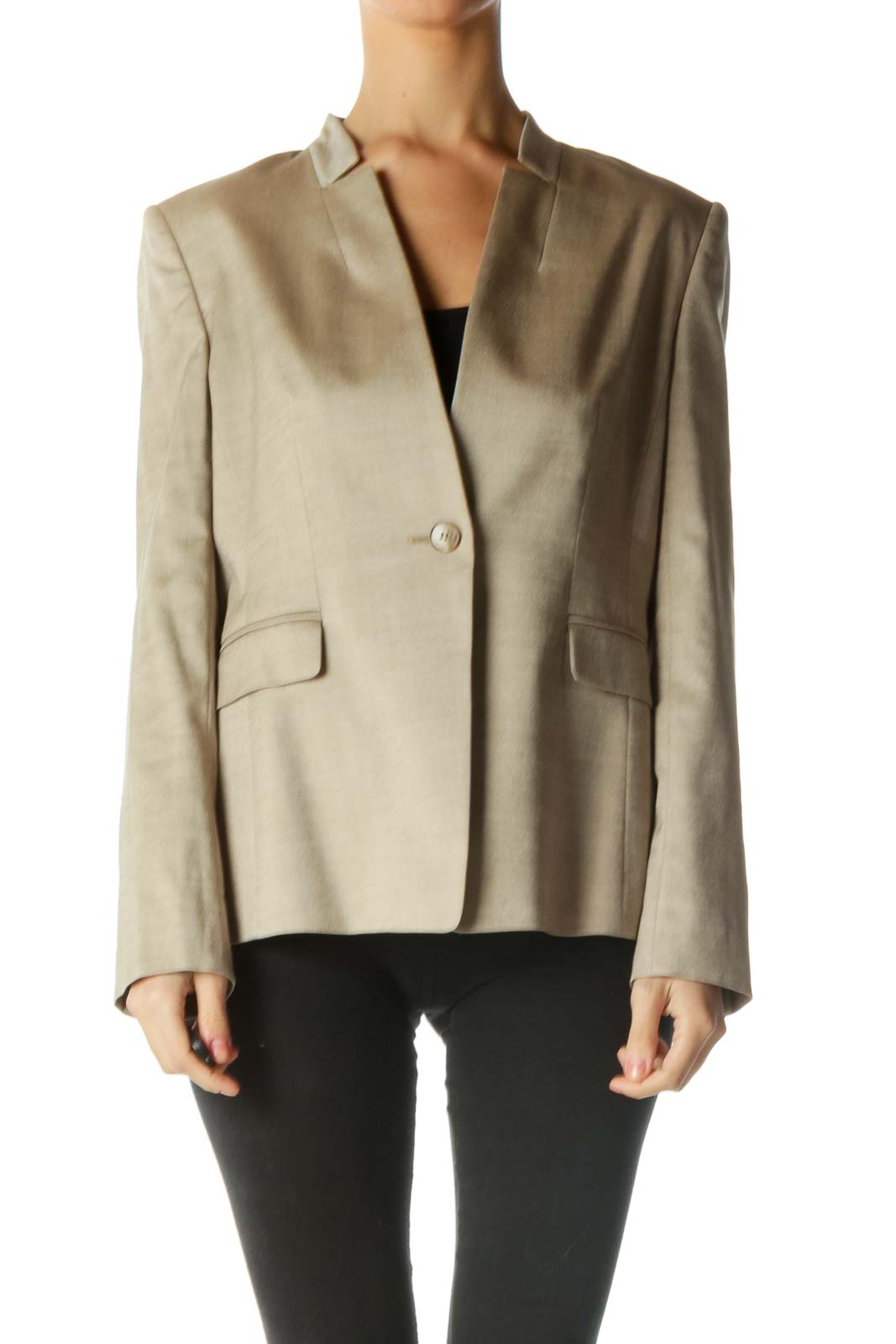 Brown One Button Blazer