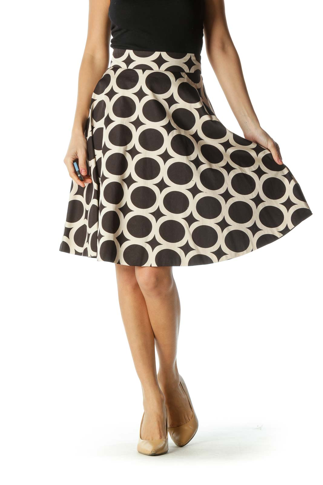 Black and Cream Print Flared Skirt