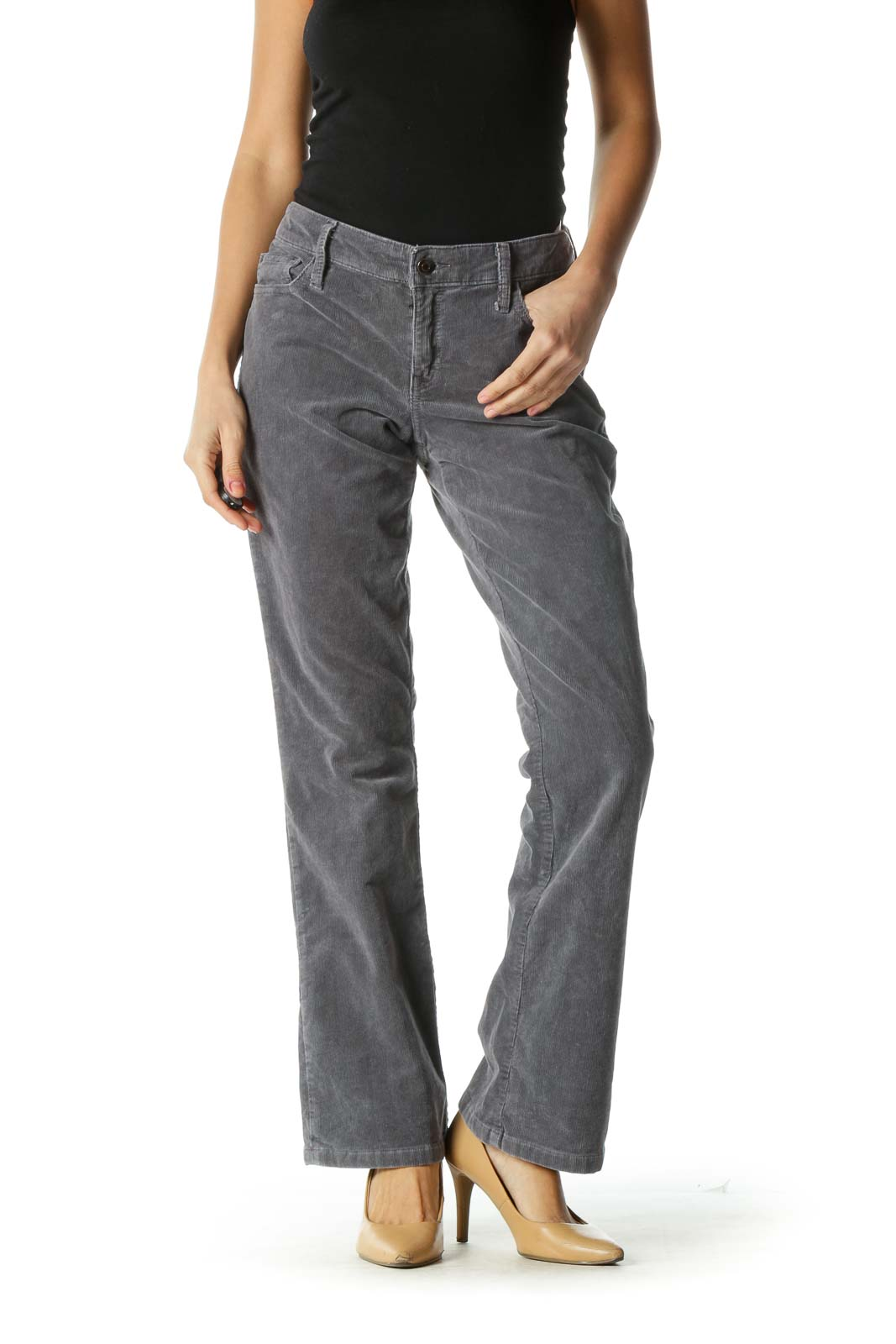 Gray Corduroy Boot Cut Pants