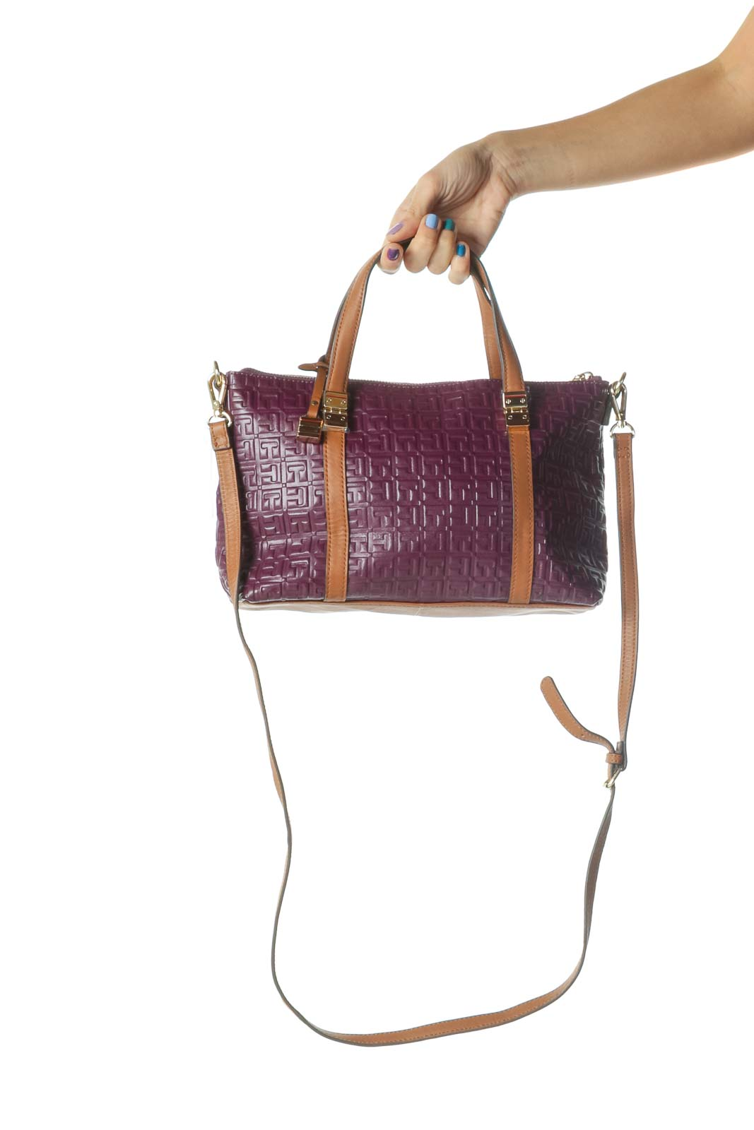 Purple and Brown Gold Hardware Logo Crossbody Bag