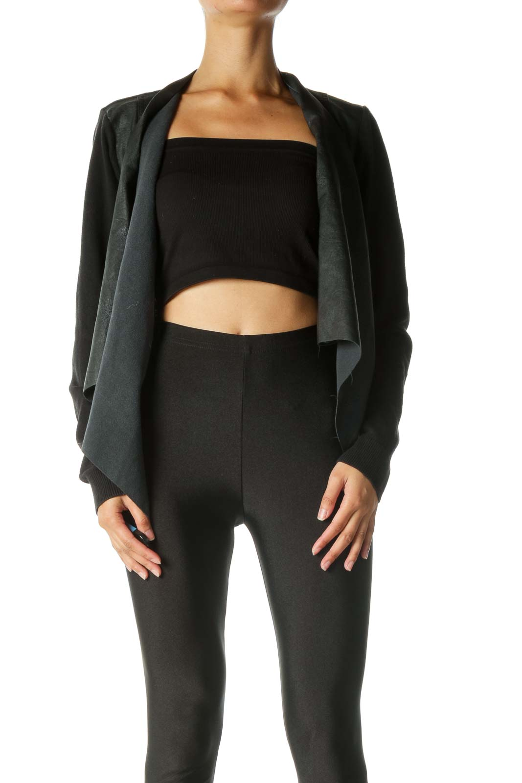 Black Cardigan with Leather Front